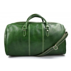 Mens leather duffle bag green shoulder bag travel bag luggage weekender carryon cabin bag