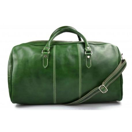 09f8b965e137 Mens leather duffle bag green shoulder bag travel bag luggage weekender  carryon cabin bag