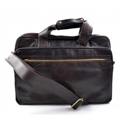 Leather shoulder messenger bag ipad laptop dark brown women men notebook bag