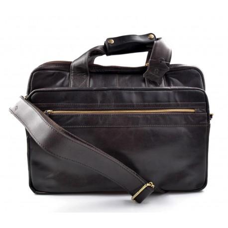Leather shoulder messenger bag ipad laptop dark brown women men notebook bag