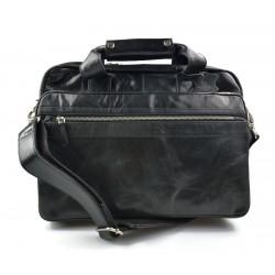 Cartella pelle uomo donna valigetta 24 ore borsa pelle a mano e tracolla borsa ufficio nero