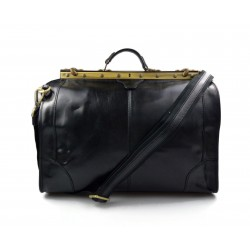 Borsone viaggio in pelle doctor bag con manici e tracolla borsa pelle uomo donna nero