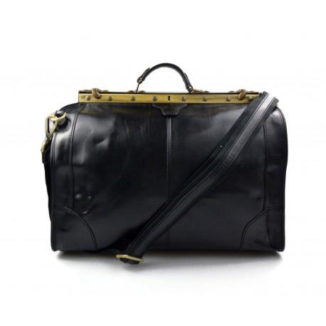 Leather doctor bag mens travel black womens cabin luggage bag leather shoulder bag