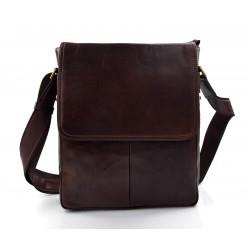 Bolso de cuero bolso tableta piel XXL bandolera piel bolso de hombre bolso de mujer marron oscuro