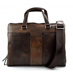Leather notebook ipad tablet satchel dark brown messenger men ladies bag