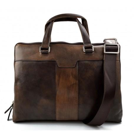 Leather notebook ipad tablet satchel dark brown messenger men ladies bag
