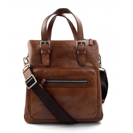 Leather notebook bag satchel messenger men ladies bag handbag brown shoulder bag ipad tablet bag
