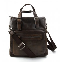 Leather notebook bag satchel messenger men ladies bag handbag dark brown shoulder bag ipad tablet bag