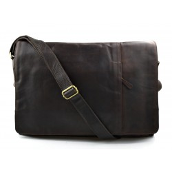 Genuine italian leather XXL shoulder messenger bag ipad laptop ladies men notebook dark brown
