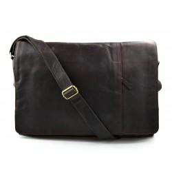 Sac à bandoulière en cuir XXL sac homme femme sac d'épaule messenger marron foncè