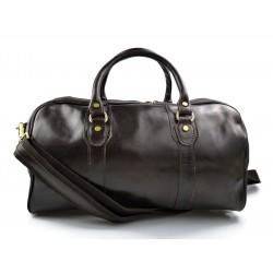 Leder reisetasche manner damen mit griffen schultertasche leder dunkelbraun