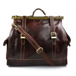 Borsone viaggio in pelle doctor bag con manici e tracolla borsa pelle uomo donna marrone