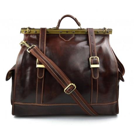 Leather doctor bag mens travel brown womens cabin luggage bag leather shoulder bag