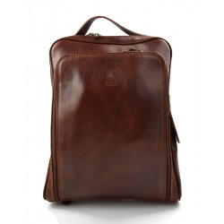 Backpack genuine leather travel bag weekender sports bag brown