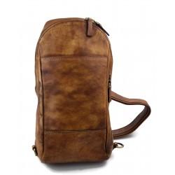 Mens waist leather shoulder bag hobo bag travel back brown