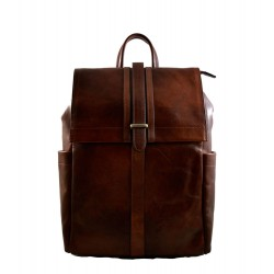 Leather brown backpack genuine leather travel bag brown