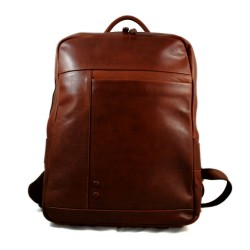 Leather backpack genuine leather travel bag weekender sports bag brown