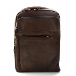 Leather dark brown backpack genuine leather travel bag weekender sports bag