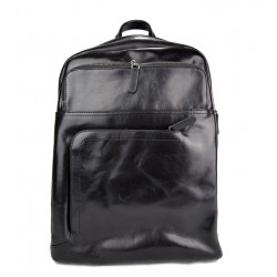 Leather black backpack genuine leather travel bag weekender sports bag
