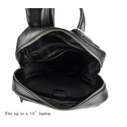 Leather backpack ladies mens lether travel bag weekender sportsbag dark brown