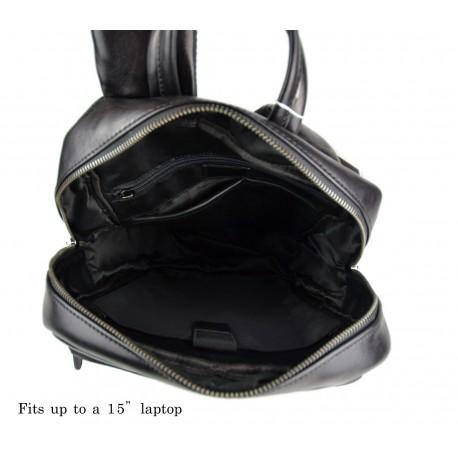 Leather backpack ladies mens lether travel bag weekender sportsbag dark  brown 062bd84d6