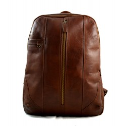 Leather backpack genuine leather brown travel bag weekender