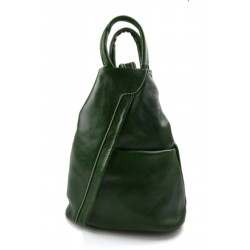 Leather backpack ladies mens leather travel bag weekender sport bag green