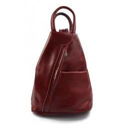Sac à dos bandoulière en cuir sac homme femme rouge