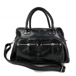 Ladies buffalo leather handbag womens shoulder bag black