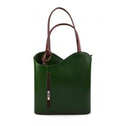 Ladies handbag green brown leather bag clutch hobo bag backpack