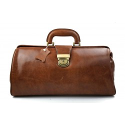 Leather doctor bag messenger handbag ladies men leatherbag briefcase vintage brown