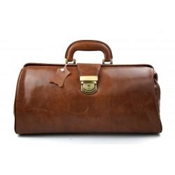 Leather doctor bag messenger handbag ladies men leatherbag briefcase vintage brown