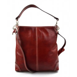 Leather ladies handbag shoulder bag luxury leather bag red