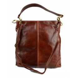 Leather ladies handbag shoulder bag luxury leather bag brown