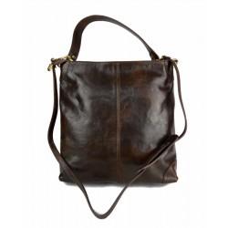 Leather ladies handbag shoulder bag luxury leather bag dark brown
