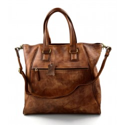 Leather ladies handbag brown shopper shopping bag shoulder bag