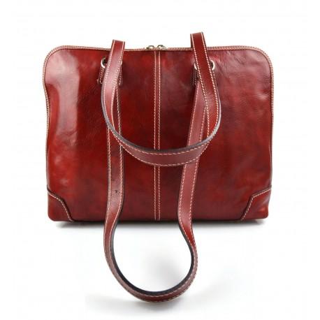 Borsa donna vera pelle borsa a spalla borsa tablet rosso