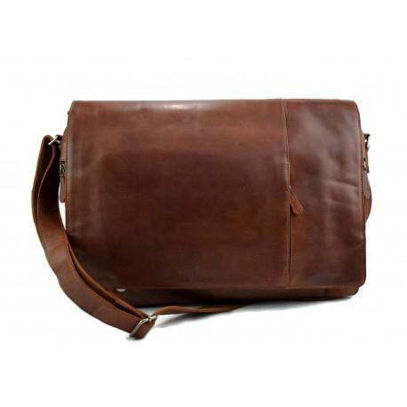 Genuine italian leather XXL shoulder messenger bag ipad laptop ladies men notebook brown