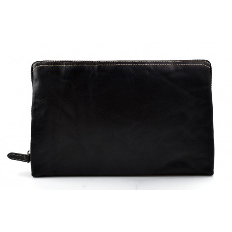 Leather pouch leather zipped bag big leather clutch zipper pouch leather zipper black