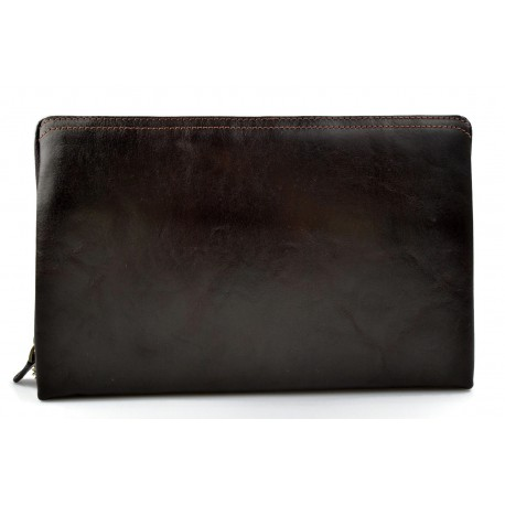 Leather pouch leather zipped bag big leather clutch zipper pouch leather zipper dark brown