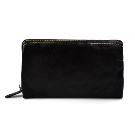 Leather pouch leather zipped bag big leather clutch zipper black pouch leather zipper