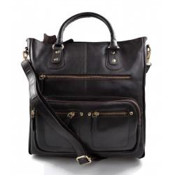 Ladies buffalo leather dark brown handbag women shoulder bag