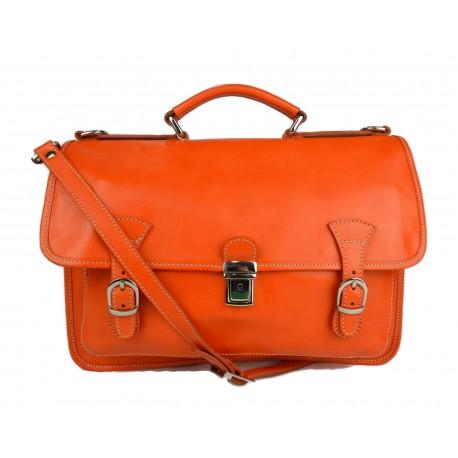 Briefcase leather office bag backpack shoulder bag conference bag mens business orange