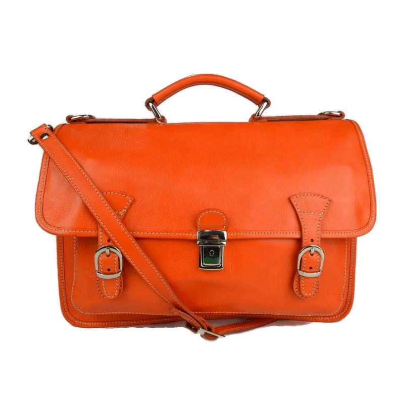 Dettagli su Borsa uomo donna cartella valigetta zaino uomo 24 ore vera pelle arancione