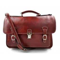 Briefcase leather office bag backpack shoulder bag conference bag mens business red