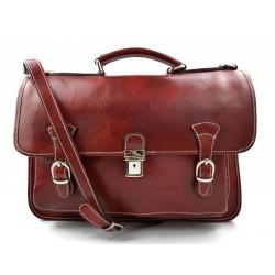 Briefcase leather office bag backpack shoulder bag conference bag mens business red