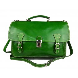 Briefcase leather office bag backpack shoulder bag conference bag mens business green