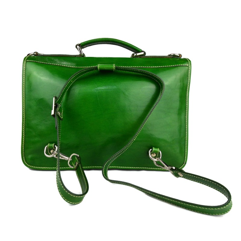 cff959b5ba77 Briefcase leather office bag backpack shoulder bag business bag green