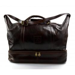 Leather duffle bag genuine leather shoulder bag dark brown