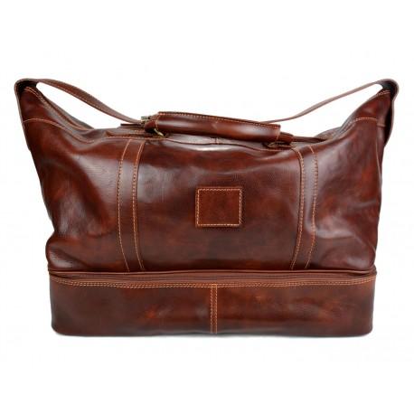ad936a6fa4 Sac de voyage en cuir homme femme bandoulière en cuir véritable sac sport  marron